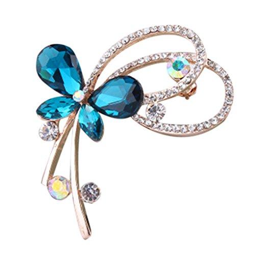 QHGstore Frauen Bankett Dekoration Brosche Pin Schmetterling Form Legierung Kristall Brosche blau 4.3*5cm