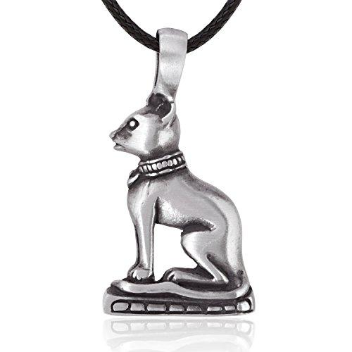Llords Schmuck Halskette mit ägyptischer Katzengöttin Statue Mau Anhänger, feinster Zinn Metall ()