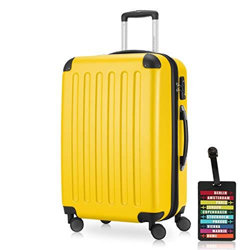Hauptstadtkoffer Bagaglio a mano (82 litri) con un lucchetto TSA Seria SPREE (Colore Giallo con 1 ciondolo per la valigia)