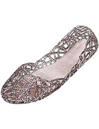 Damen Sandalen Ronamick Frauen Sommer Hausschuhe Funkelnde Geleeschuhe Shiny Baotou Hohe Elastische Schuhe