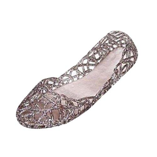 Damen Sandalen Ronamick Frauen Sommer Hausschuhe Funkelnde Geleeschuhe Shiny Baotou Hohe elastische Schuhe (40, Schwarz)