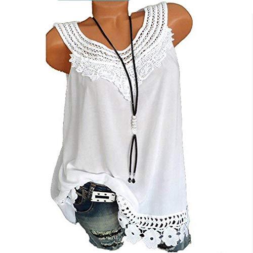 Damen Spitze Top Bluelucon, Sommer Tank Top Casual Kurz Oberteil Elegant ärmelloses T-Shirt Basic Bluse Blusentop Tanktop Große Größen
