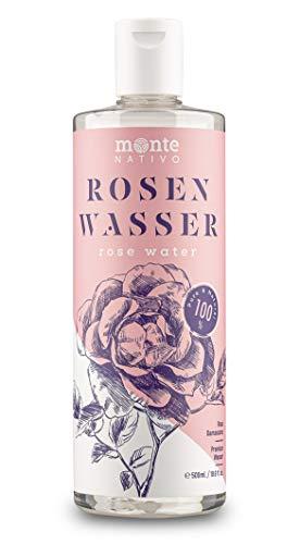 Rosenwasser MonteNativo 1x500ml - 100{56ac999041cc8dbfaabcd55a2a100e3236b56037e89a107e8b264fd4f19fd4b8} natürlich, echtes Gesichtswasser, Rein und Naturbelassen, naturreines Rosen-Hydrolat, Reinigungswasser, Naturkosmetik, Rose Water (500ml)