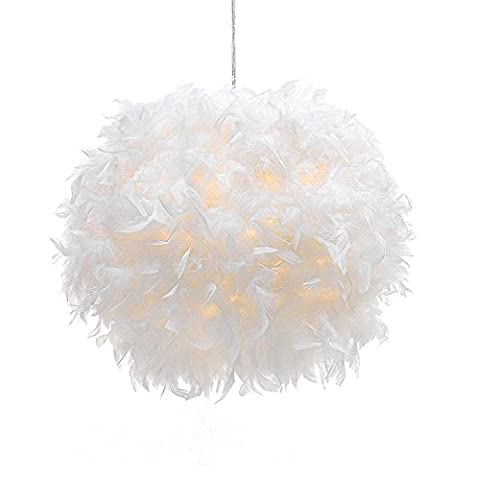 Modern Simple Personality White Feather Ceiling Pendant Light Shade, Non-electrical Lampshade for Floor Lamp and Table Lamp with Shade Reducing Ring for Living Room, Dining room, and Bedroom, 30cm