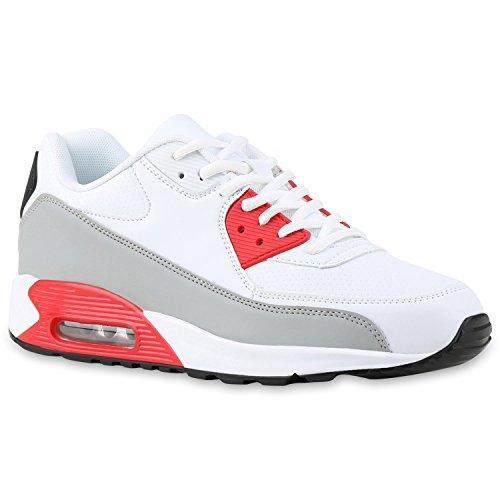 Herren Sportschuhe Leder-Optik | Sneakers Velours Glitzer | Metallic Runners | Freizeitschuhe Schnürer Weiss Grau Rot