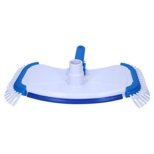 Pool Bodensauger DeLuxe Bürste von SL247 mit Sauganschluss für 32mm und 38mm Schwimmbadschlauch und seitlichen Borsten passend für alle handelsüblichen Aluminium-Teleskopstangen