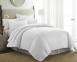 Hotel Comforter 6 Pcs Set By Valentini, King Size, Plain D2, White, Microfiber