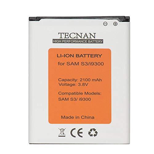 tecnan Ersatzakku für Samsung Galaxy S3 i9300 GT-i9300 / S3 neo i9301/ i9305 LTE/ersetzt EB-L1G6LLU Handy Akku Li-Ion 2100 mAh Batterie Battery Handyakku Accu (Akku S3)