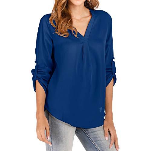 GOKOMO Damen Oversized-T-Shirt top knopf Damen top v-Ausschnitt Damen weiß top einfarbig Damen Bowknot Halb Ärmel T-Shirt Shirt schwarz Damen v-Ausschnitt(Blau,Large)