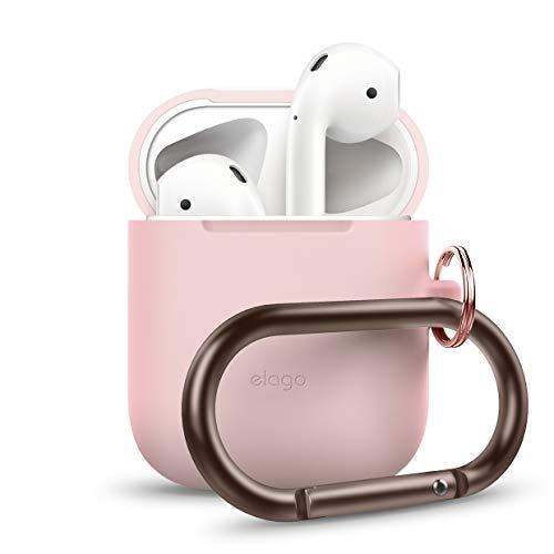 elago Custodia in Silicone da Appendere Compatiblile con Apple AirPods 1 & 2 (LED anteriore Non Visibile) - [Funziona la Ricarica Wireless] [Vestibilità Perfetta] [Con Moschettone Aggiunto] - Rosa