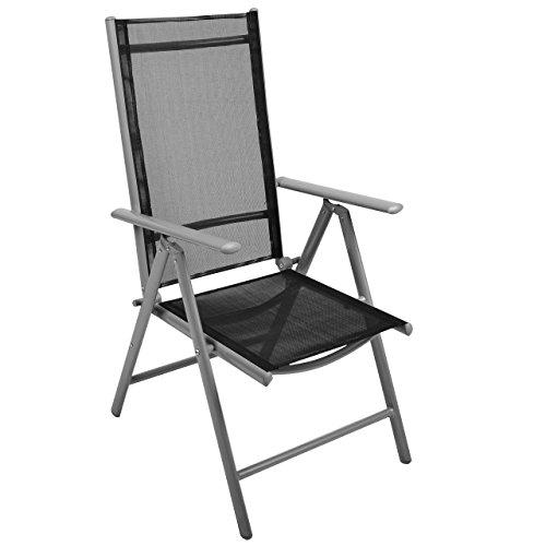 Nexos 4-er Set Stuhl, Klappstuhl, Gartenstuhl, Hochlehner für Terrasse, Balkon, Camping Festival, aus Aluminium verstellbar leicht, stabil, schwarz - 2