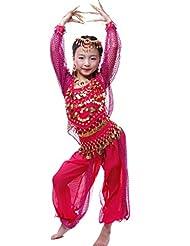 Astage Niña Disfraz Bailarina Danza del Vientre India Manga Larga Todos Accesorios Hotpink XL