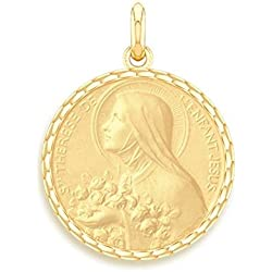 SAINTE THERESE - Médaille Religieuse - Or Jaune 9 carats - Diamètre : 17 mm - www.diamants-perles.com