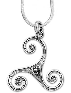 Keltische Triskele Anhänger Amulett 925er Silber Schmuck Schutz mit 1,2mm Schlangenkette 45 cm Halskette 543