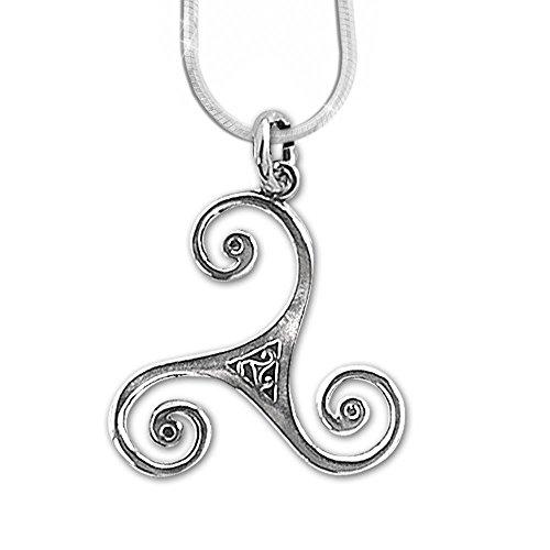 24-Trendshop Keltische Triskele Anhänger Amulett 925er Silber Schmuck Schutz mit 1,2mm Schlangenkette 45 cm Halskette 543