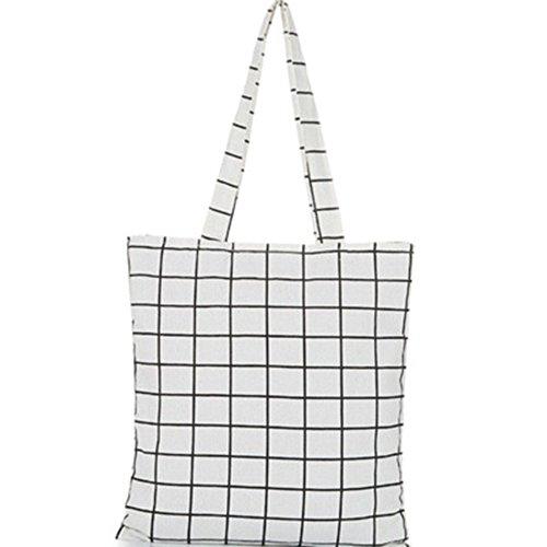 Lubier Double Sac en Tissu Plaid en Tissu Faite à la Main en Coton et Lin Sac Sac à Main Sac à Bandoulière Décontracté Menottes Ladies Bag Art Ventilateur Blanc Blanc
