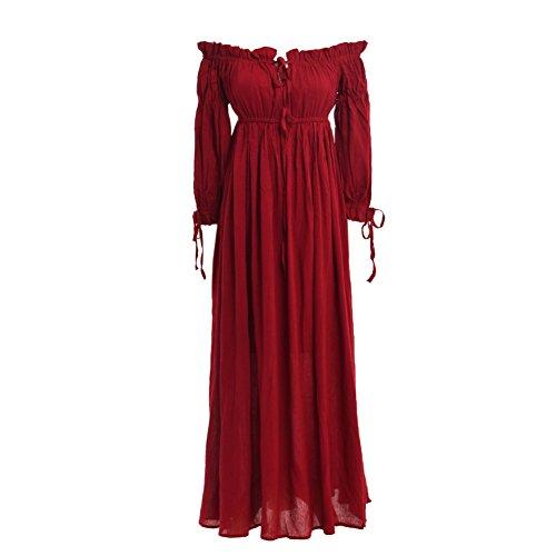 BLESSUME Renaissance Retro Sommer Kleid Aus Schulter 3/4 Hülse Burgund (Rotes Kleid Renaissance)