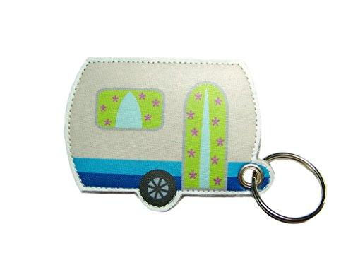 Schlüsselanhänger Wohnwagen Anhänger Taschenanhänger aus Wollfilz Filz mit selbstgefertigtem Wohnwagen Aufdruck als Aufnäher, z.B. für Camping Freunde