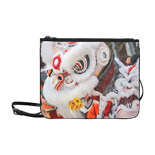 Holiday Kostüm Parade - WOCNEMP Tanzen Löwe Chinesisches Neujahr Parade Muster Benutzerdefinierte hochwertige Nylon Schlanke Handtasche Umhängetasche Umhängetasche