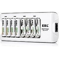 EBL Chargeur de Piles AA AAA 8 Slots avec Piles Rechargeables Ni-MH [4 pcs] AA 2800mAh et [4 pcs] AAA 1100mAh