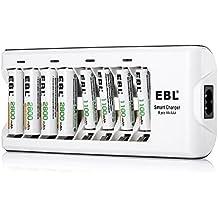 EBL 808 Cargador de pilas con 4 Unidades de AA 2800mAh y AAA 1100mAh Ni-MH Baterías Recargables