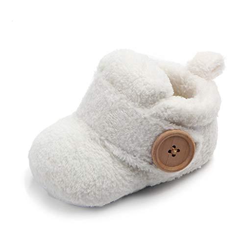 Auxma Babyschuhe für 0-18 Monate, Baby Jungen Mädchen Winterschuhe, Warme Schuhe Stiefel für Kleinkinder (6-12 Monate, Weiß)