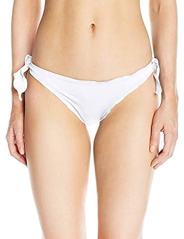 Guess Women's Solid Ruffle Cheeky Bikini Bottom, Optic White, XS