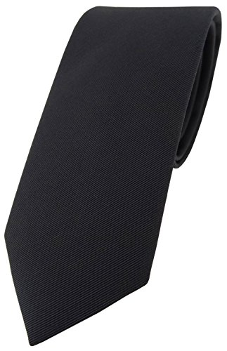 Kette, Seide Krawatte (Blick. elementum Mogador Seidenkrawatte in schwarz Uni fein gerippt - Krawatte 100% pure Seide)