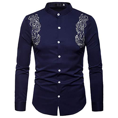 (UJUNAOR Luxus Frühling Männer Lässiges Langarmhemd Revers T-Shirt Top für Herren(Marine,CN XL))