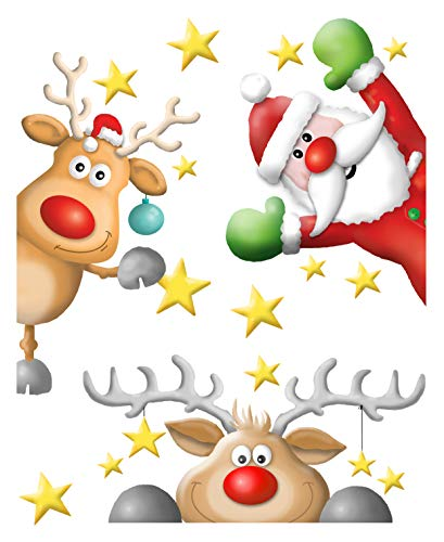 AVERY Zweckform Art. 52953 Fensterbilder Weihnachten (Fenstersticker, Fensterfolie glatt, Fensterdeko, Weihnachtsdeko Fenster, ablösbar) 1 Stück mehrfarbig