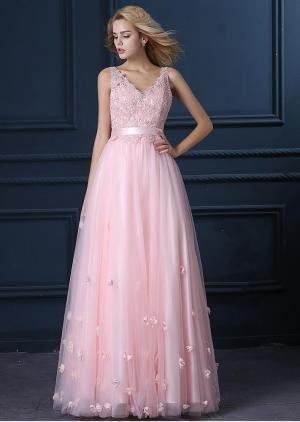 Beauty-Emily Hochzeitskleider Junge Damen Vintage Maxi Günstig Blumen V Ausschnitt Strass Applique...