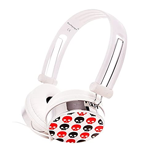 RockPapa Skull Schädel Over Ear DJ Kopfhörer Kinder Oder Erwachsene Headphone Verstellbare für iPod Touch Nano Shuffle / MP3 MP4 DVD Player TV PC Laptop Computer - Weiße