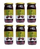 6 Gläser Iliada schwarze Jumbo Kalamata griechische Oliven Glas je 215 g Abtropfgewicht Griechenland