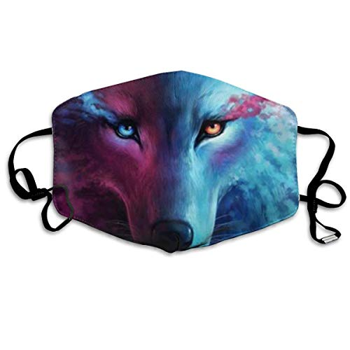 Masken, Masken für Erwachsene,Face Mask Reusable, Animal Wolf Unisex Colorful Pattern Crew Mask Can Be Washed Reusable - Respirator Cotton Mask Dust Mask Anti Pollution Mask Mouth Mask for Men Women (Deluxe Wolf Maske)
