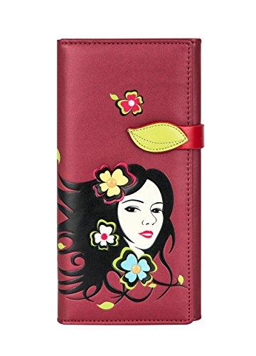 Portfolio faccia fiore donna piatta menkai all'interno borsa cerniera titolare della carta 769a e rose red