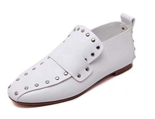 SHINIK Femmes Chaussures plates Chaussures décontractées Slip-On Rivet Bas Talon Chaussures Carrées Chaussures Mules Chaussures Court Noir Chaussures à boutons fermés Noir Blanc White