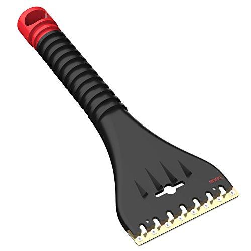 AUPROTEC Grattoir à Glace avec Racloir Double en laiton et polycarbonate + Dents brise-glace Gratte-givre Raclette pare brise Outil d'hiver AE 1 - couleur noir-rouge