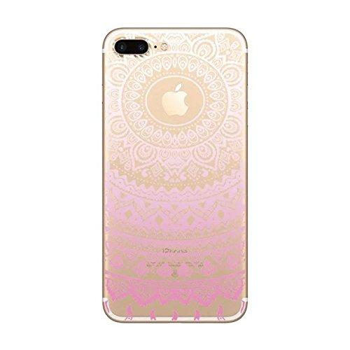 Sycode Custodia per iPhone 6S Plus,Cover per iPhone 6S Plus,Silicone Trasparente Case per iPhone 6 Plus,Liquido Cristallo Chiaro Carina Divertente Motivo Blu Mandala Fiore Morbida Flessibile Silicone Rosa Mandala Fiore