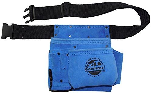 graintex ss20455-Tasche, Blau Schwarz Leder, Wildleder, Nagel- und Werkzeugtasche mit 2-Gurt Schnellverschluss-Schnalle - Tasche Wildleder Leder Nagel