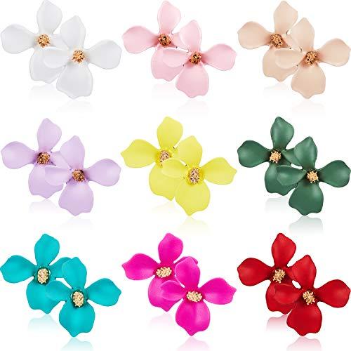 9 Paar Blumen Ohrstecker Set Böhmische Blumen Ohrringe mit Kunstblütenknospe für Damen Mädchen, 9 Farben