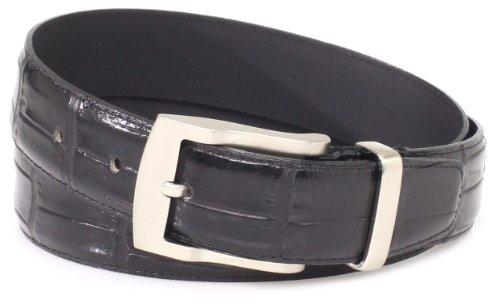 Florsheim Men's Croc Embossed Italian Leather Belt 32MM, Black, 42