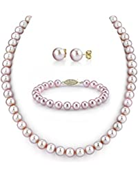 "9-10mm Pink Freshwater Cultured Pearl Necklace, Bracelet & Earrings Set, 17"" Princess Length - AAA Quality"