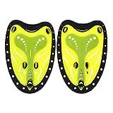 Nuoto Palette a Mano, Nuoto Pagaie, Risparmiare Fatica Pagaia Senza Spalline da Nuotare Allenamento per Uomo Donna Adulti Bambini (M-Yellow)
