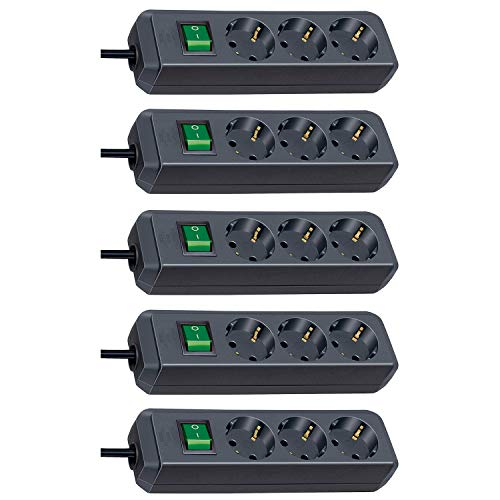 Brennenstuhl Eco-Line 3-Fach Steckdosenleiste (Steckerleiste mit Kindersicherung, Schalter und 1,5 m Kabel) schwarz (5 Stück)