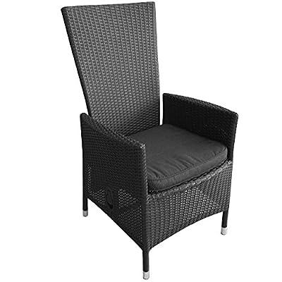 Poly Rattan Sessel Rattansessel Gartensessel Rattanstuhl Gartenstuhl Relaxsessel Lehne stufenlos verstellbar Schwarz + Sitzkissen Schwarz
