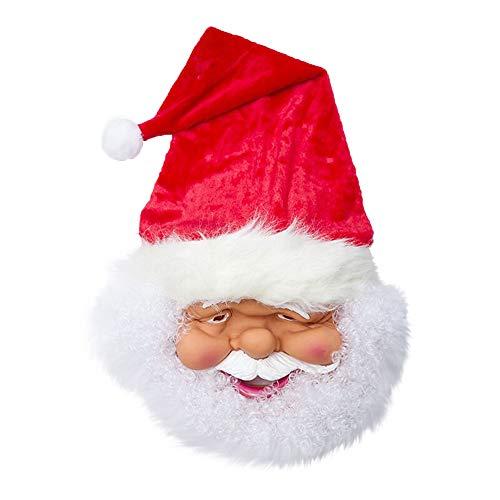 Santa Deluxe Kostüm - DingLong Silikon Santa Kopf Abdeckung - Deluxe Neuheit Halloween Weihnachten Kostüm Party Latex Maske für Halloween Maskerade Prom Party