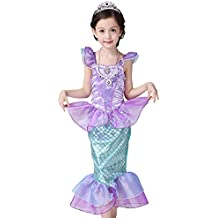 pepeng Niñas Morado disfraz de la Sirenita para 3–10años Niño Halloween Fiesta de cumpleaños