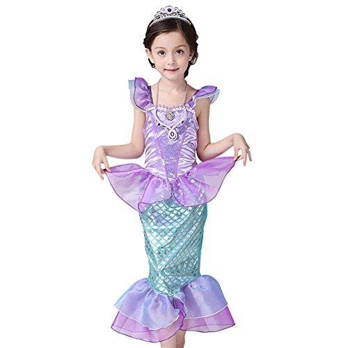 PePeng, Meerjungfrauenkostüm, Kleid, für Mädchen, Lila, 3 bis 10 Jahre, Halloween, Geburtstagsfeier, Fasching, violett (Länder Fancy Dress Kostüme)