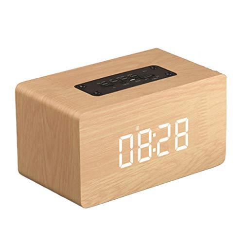 bxbx Holz Bluetooth-Lautsprecher, Uhr Multifunktions-Uhr Alarm SoundThree Große Wiedergabeformate Durable Lautsprecher