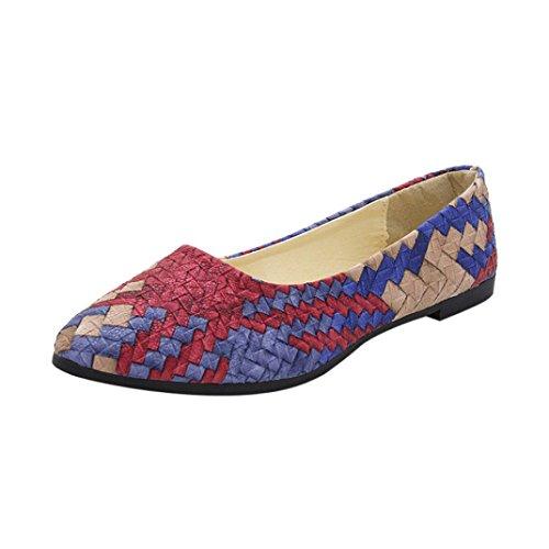 Amlaiworld Chaussures pour Femmes Fille Chaussures Plates Printemps Couleurs Mélangées Chaussures Décontractées Ballerines Shoes